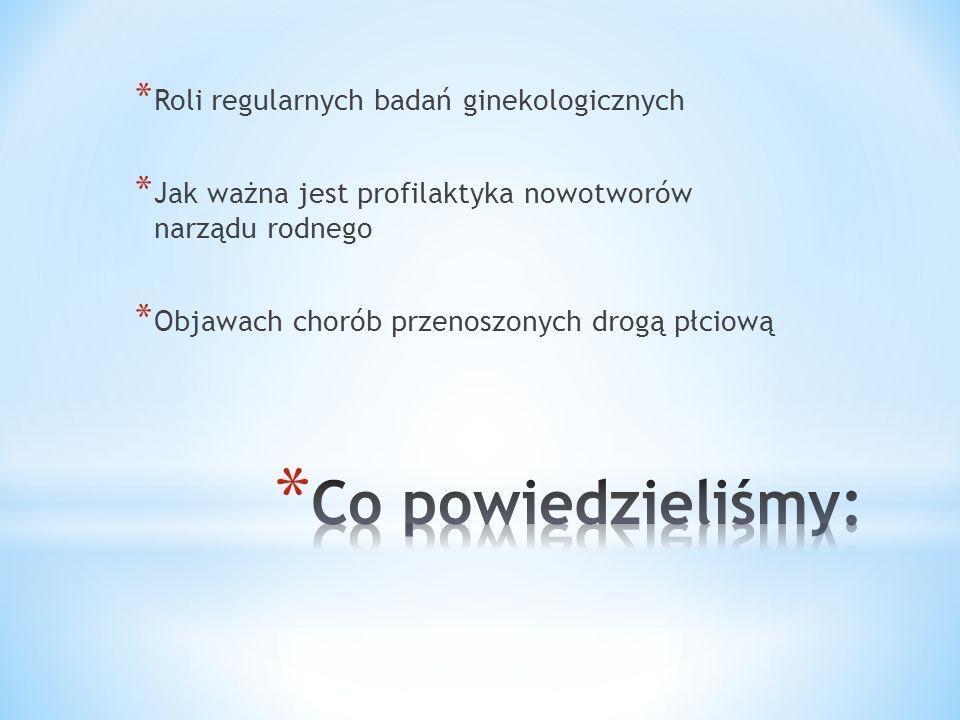 * Roli regularnych badań ginekologicznych * Jak ważna jest profilaktyka nowotworów narządu rodnego * Objawach chorób przenoszonych drogą płciową