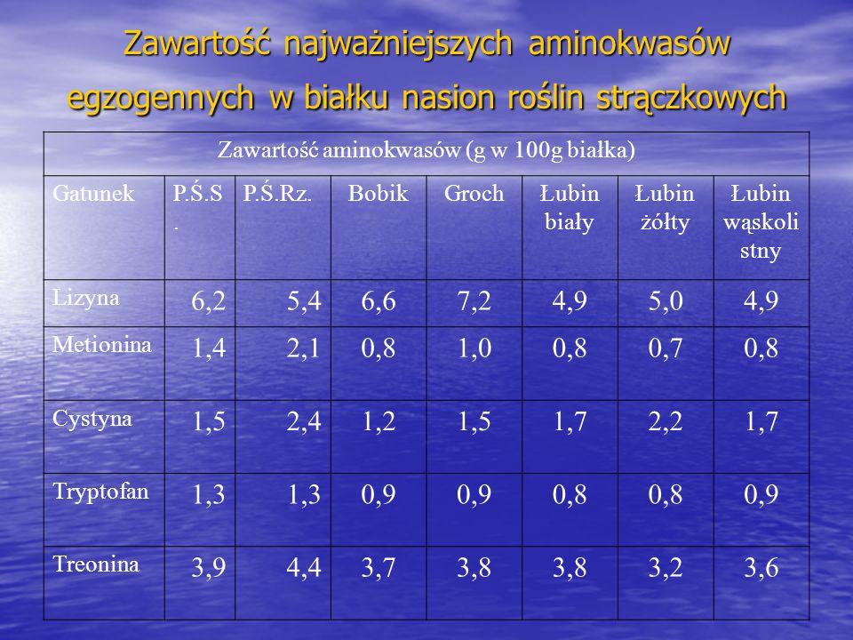 Zawartość najważniejszych aminokwasów egzogennych w białku nasion roślin strączkowych Zawartość aminokwasów (g w 100g białka) GatunekP.Ś.S.