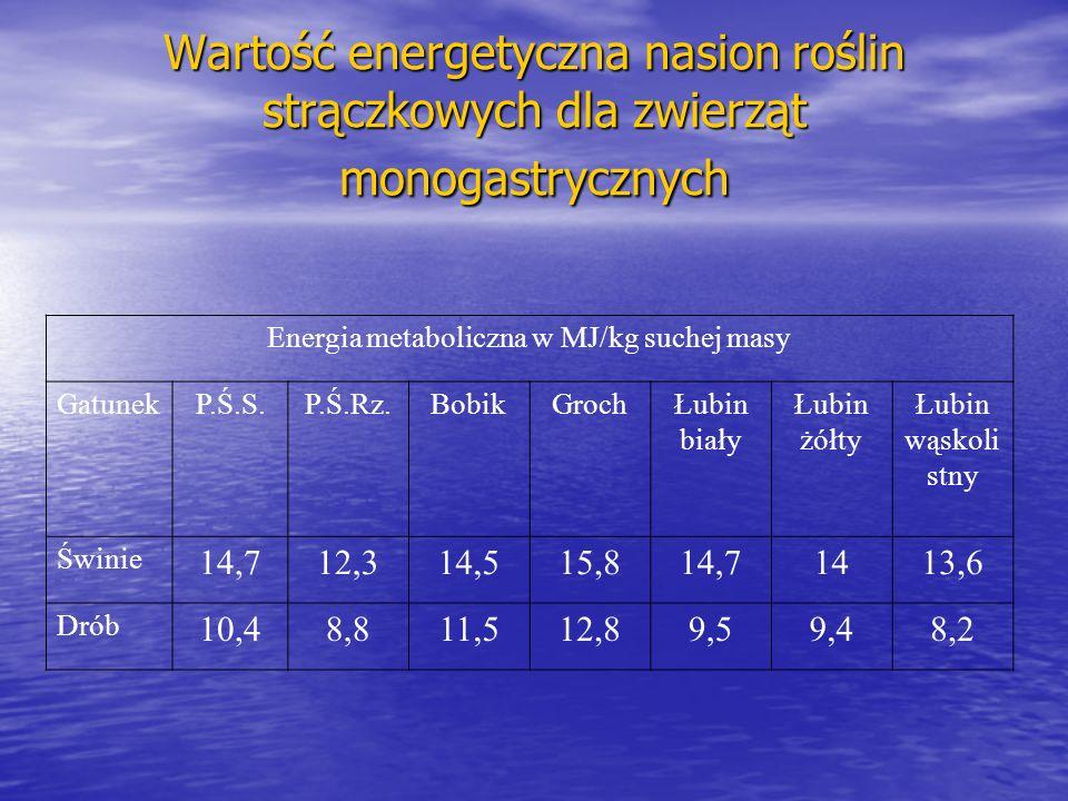 Wartość energetyczna nasion roślin strączkowych dla zwierząt monogastrycznych Energia metaboliczna w MJ/kg suchej masy GatunekP.Ś.S.P.Ś.Rz.BobikGrochŁubin biały Łubin żółty Łubin wąskoli stny Świnie 14,712,314,515,814,71413,6 Drób 10,48,811,512,89,59,48,2