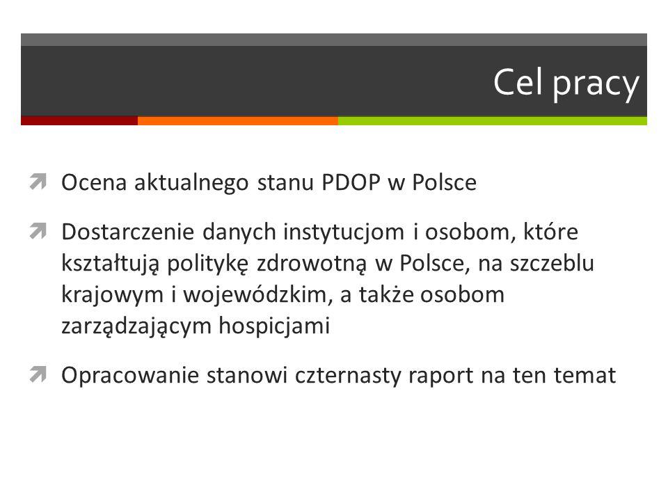 Cel pracy  Ocena aktualnego stanu PDOP w Polsce  Dostarczenie danych instytucjom i osobom, które kształtują politykę zdrowotną w Polsce, na szczeblu krajowym i wojewódzkim, a także osobom zarządzającym hospicjami  Opracowanie stanowi czternasty raport na ten temat