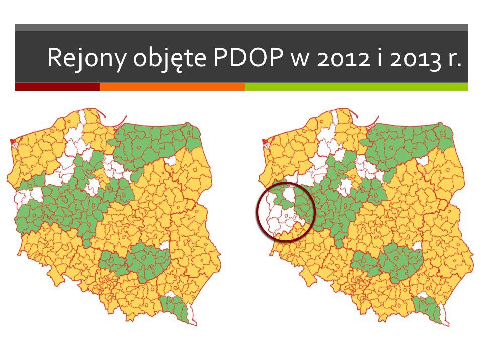 Rejony objęte PDOP w 2012 i 2013 r.