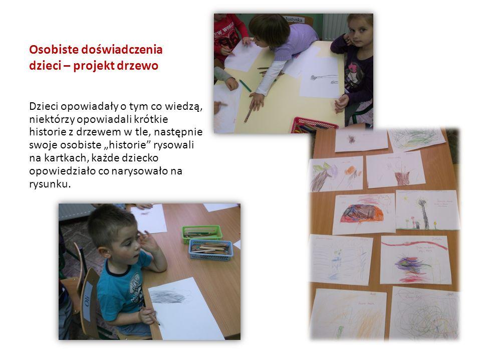 """Osobiste doświadczenia dzieci – projekt drzewo Dzieci opowiadały o tym co wiedzą, niektórzy opowiadali krótkie historie z drzewem w tle, następnie swoje osobiste """"historie rysowali na kartkach, każde dziecko opowiedziało co narysowało na rysunku."""