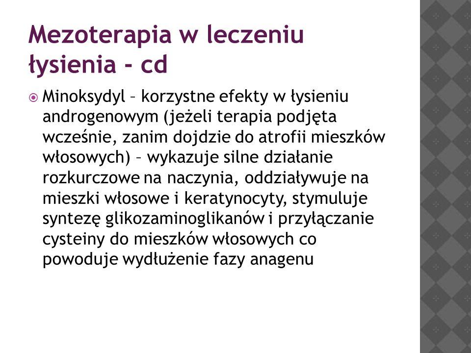 Mezoterapia w leczeniu łysienia - cd  Minoksydyl – korzystne efekty w łysieniu androgenowym (jeżeli terapia podjęta wcześnie, zanim dojdzie do atrofi