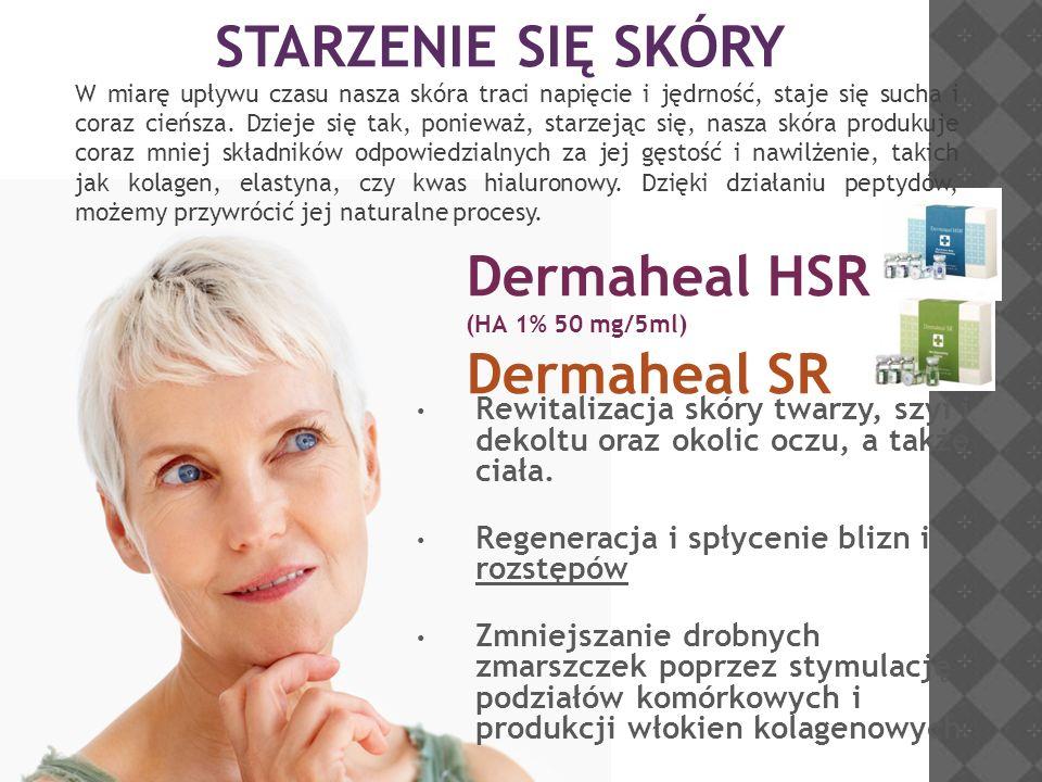 Dermaheal HSR (HA 1% 50 mg/5ml) Dermaheal SR Rewitalizacja skóry twarzy, szyi i dekoltu oraz okolic oczu, a także ciała. Regeneracja i spłycenie blizn