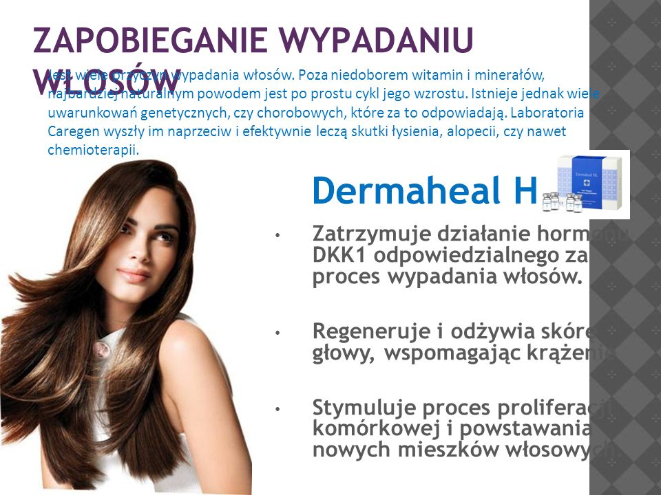 ZAPOBIEGANIE WYPADANIU WŁOSÓW Dermaheal HL Zatrzymuje działanie hormonu DKK1 odpowiedzialnego za proces wypadania włosów. Regeneruje i odżywia skórę g