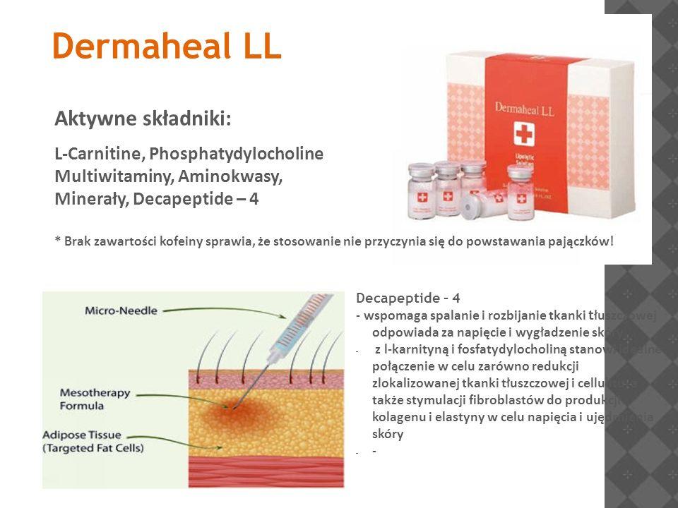 Dermaheal LL Aktywne składniki: L-Carnitine, Phosphatydylocholine Multiwitaminy, Aminokwasy, Minerały, Decapeptide – 4 * Brak zawartości kofeiny spraw