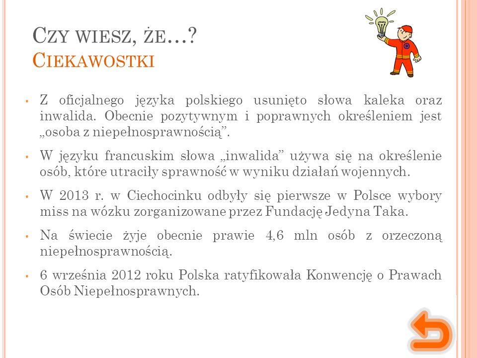 C ZY WIESZ, ŻE …. C IEKAWOSTKI Z oficjalnego języka polskiego usunięto słowa kaleka oraz inwalida.