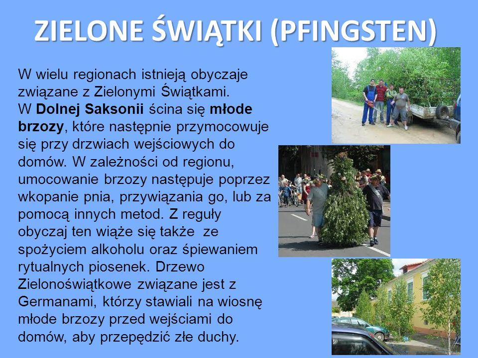 ZIELONE ŚWIĄTKI (PFINGSTEN) W wielu regionach istnieją obyczaje związane z Zielonymi Świątkami. W Dolnej Saksonii ścina się młode brzozy, które następ