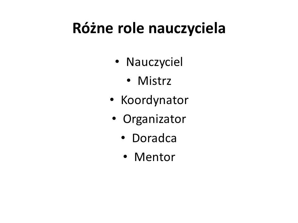 Różne role nauczyciela Nauczyciel Mistrz Koordynator Organizator Doradca Mentor