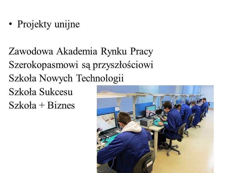 Projekty unijne Zawodowa Akademia Rynku Pracy Szerokopasmowi są przyszłościowi Szkoła Nowych Technologii Szkoła Sukcesu Szkoła + Biznes