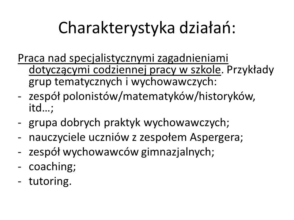 Charakterystyka działań: Praca nad specjalistycznymi zagadnieniami dotyczącymi codziennej pracy w szkole. Przykłady grup tematycznych i wychowawczych: