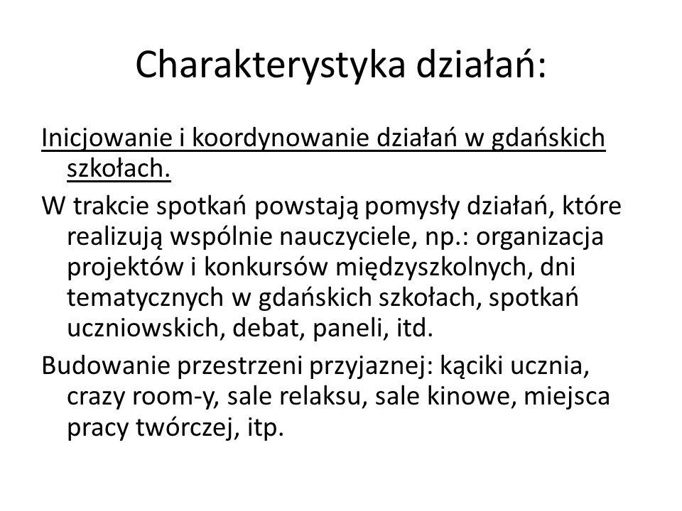 Charakterystyka działań: Inicjowanie i koordynowanie działań w gdańskich szkołach.
