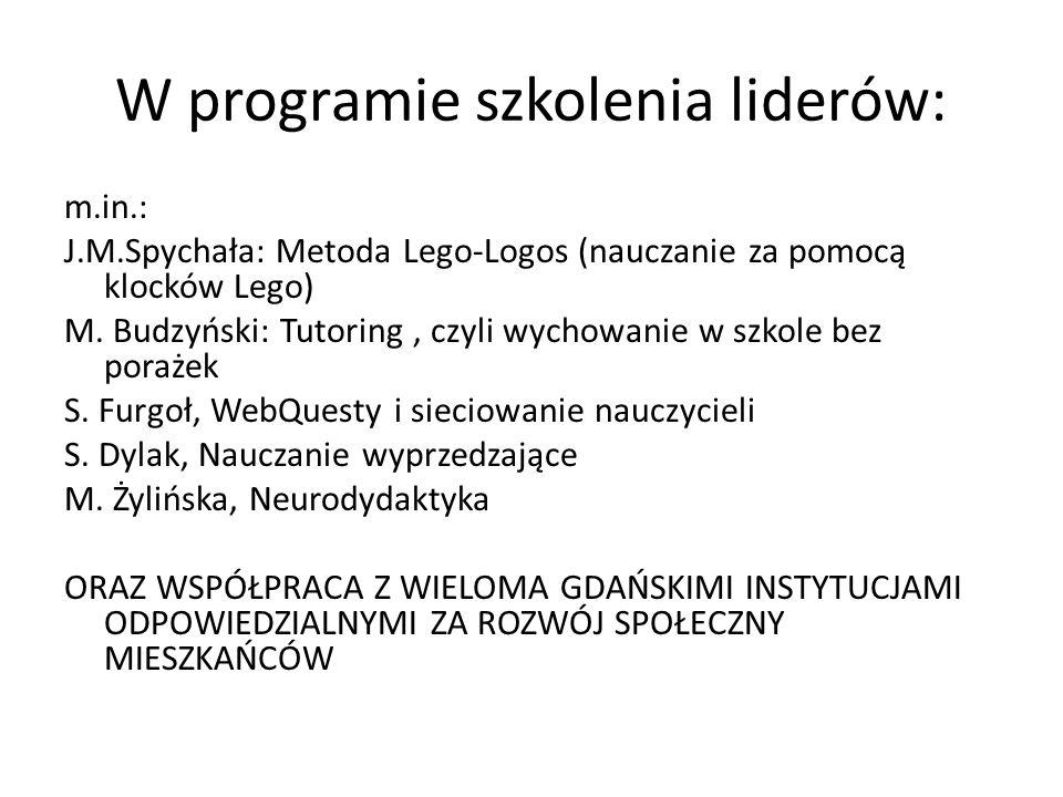 W programie szkolenia liderów: m.in.: J.M.Spychała: Metoda Lego-Logos (nauczanie za pomocą klocków Lego) M. Budzyński: Tutoring, czyli wychowanie w sz