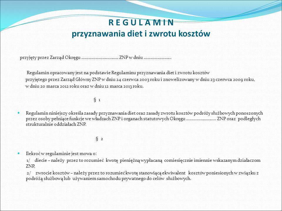 R E G U L A M I N przyznawania diet i zwrotu kosztów przyjęty przez Zarząd Okręgu ………………………….. ZNP w dniu …………………… Regulamin opracowany jest na podsta