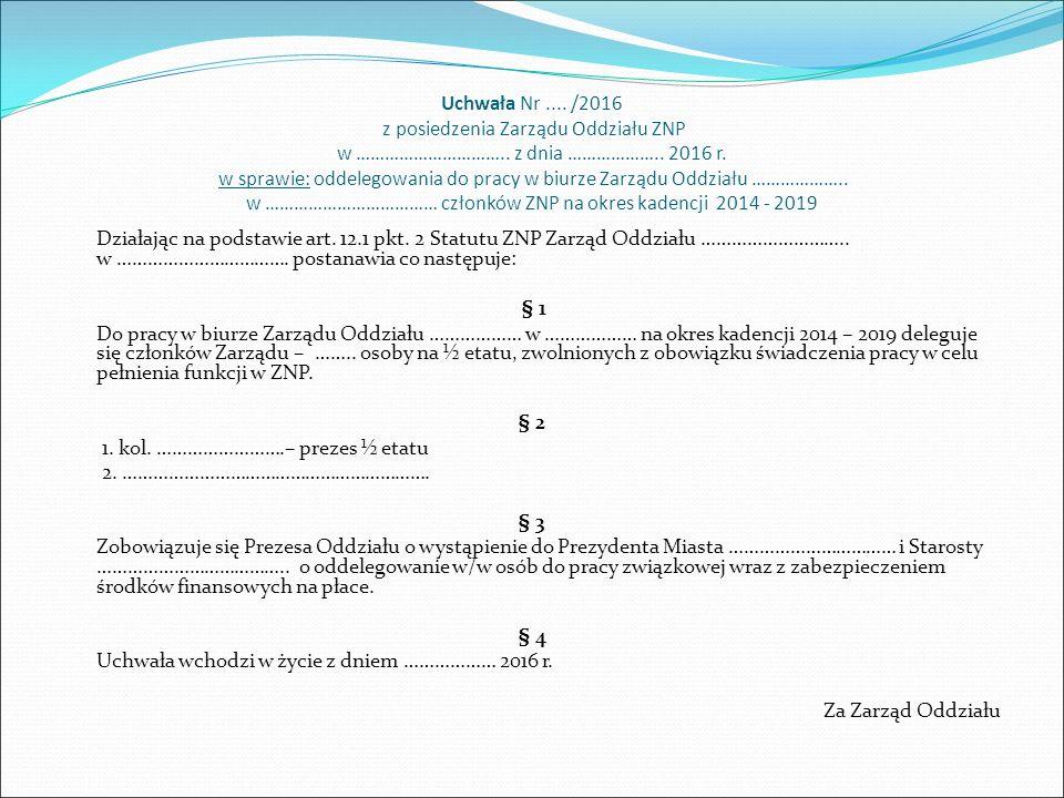Uchwała Nr.... /2016 z posiedzenia Zarządu Oddziału ZNP w ………………………….. z dnia ……………….. 2016 r. w sprawie: oddelegowania do pracy w biurze Zarządu Oddz