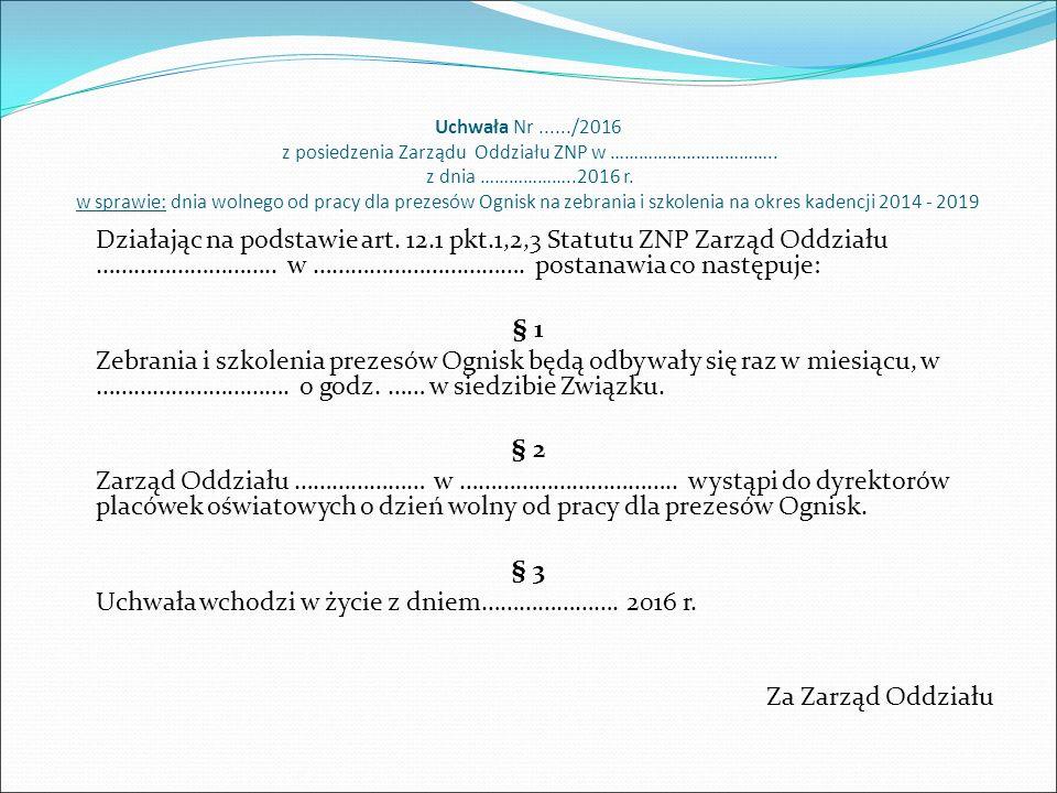 Uchwała Nr....../2016 z posiedzenia Zarządu Oddziału ZNP w ……………………………..
