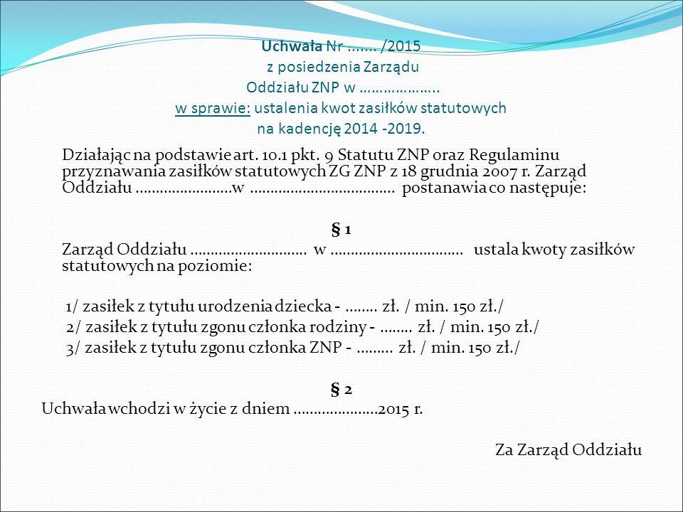 Uchwała Nr....... /2015 z posiedzenia Zarządu Oddziału ZNP w ……………….. w sprawie: ustalenia kwot zasiłków statutowych na kadencję 2014 -2019. Działając