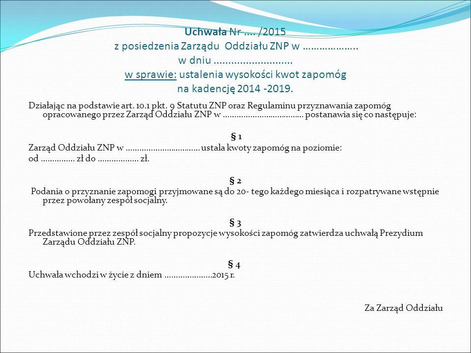 Uchwała Nr.... /2015 z posiedzenia Zarządu Oddziału ZNP w ……………….. w dniu........................... w sprawie: ustalenia wysokości kwot zapomóg na ka
