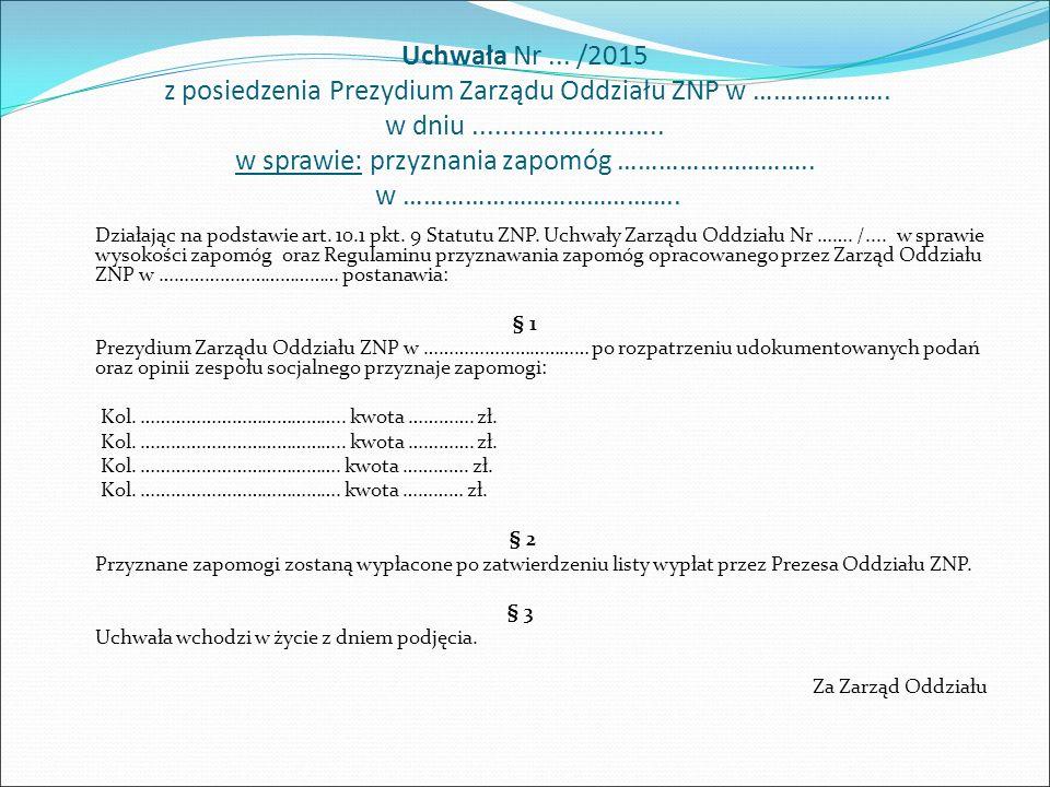 Uchwała Nr... /2015 z posiedzenia Prezydium Zarządu Oddziału ZNP w ………………..