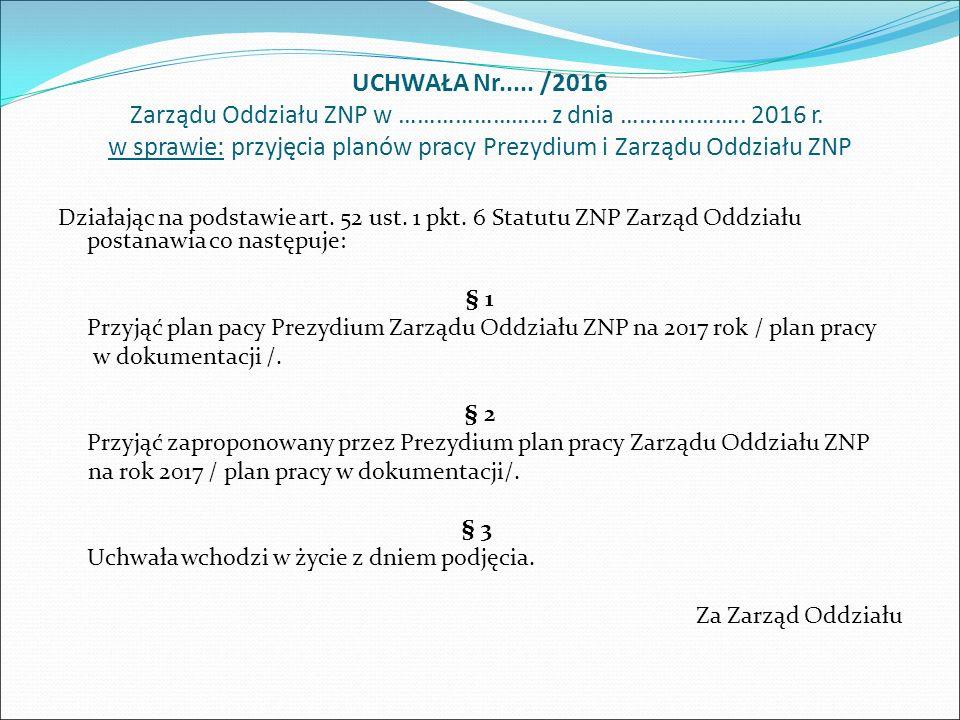UCHWAŁA Nr..... /2016 Zarządu Oddziału ZNP w …………………… z dnia ………………..
