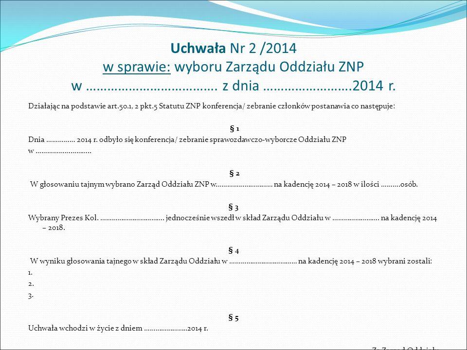 Uchwała Nr 2 /2014 w sprawie: wyboru Zarządu Oddziału ZNP w ……………………………….