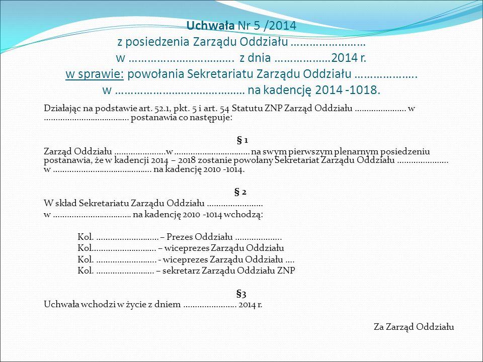 Uchwała Nr 5 /2014 z posiedzenia Zarządu Oddziału …………………… w ……………………………. z dnia ………………2014 r. w sprawie: powołania Sekretariatu Zarządu Oddziału …………