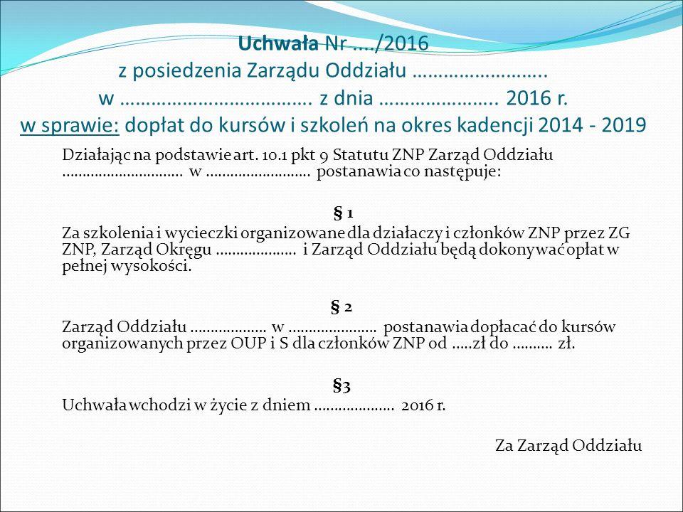 Uchwała Nr..../2016 z posiedzenia Zarządu Oddziału ……………………..
