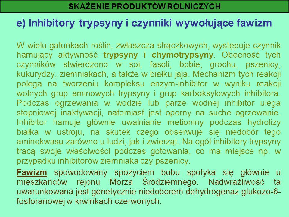 e) Inhibitory trypsyny i czynniki wywołujące fawizm W wielu gatunkach roślin, zwłaszcza strączkowych, występuje czynnik hamujący aktywność trypsyny i
