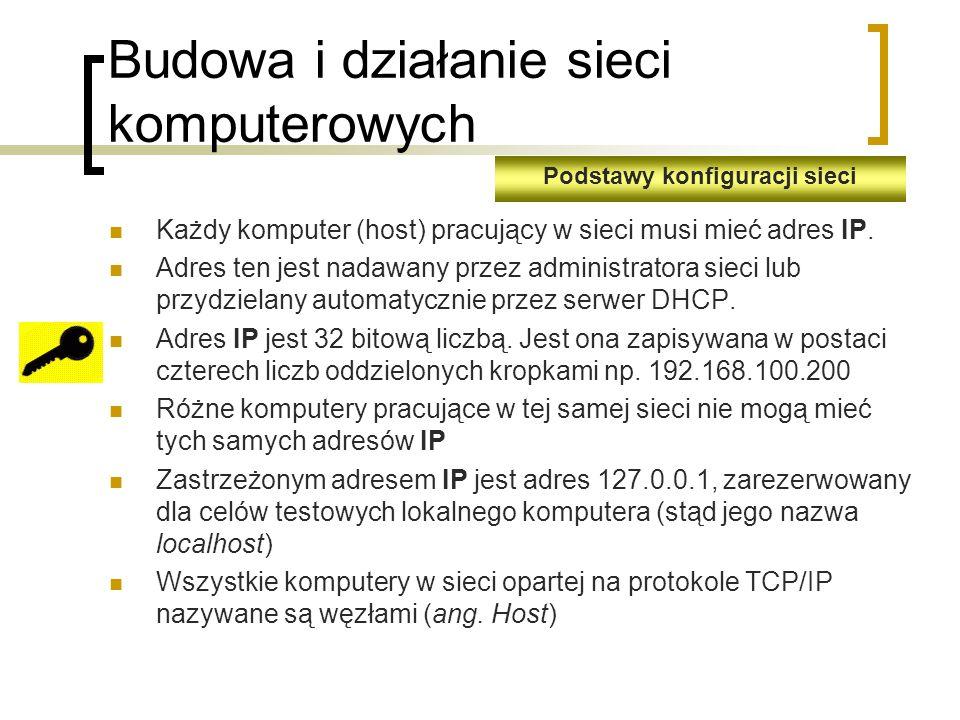Budowa i działanie sieci komputerowych Każdy komputer (host) pracujący w sieci musi mieć adres IP.
