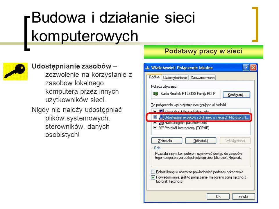 Budowa i działanie sieci komputerowych Udostępnianie zasobów – zezwolenie na korzystanie z zasobów lokalnego komputera przez innych użytkowników sieci.