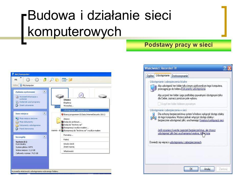 Budowa i działanie sieci komputerowych Podstawy pracy w sieci
