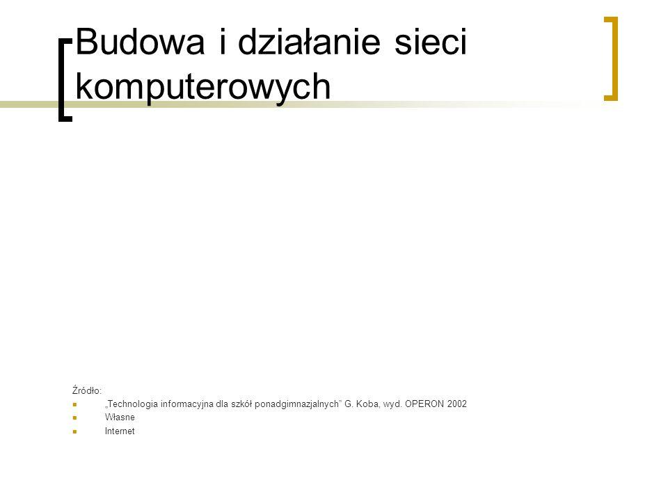 """Budowa i działanie sieci komputerowych Źródło: """"Technologia informacyjna dla szkół ponadgimnazjalnych G."""