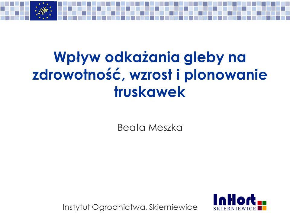Wpływ odkażania gleby na zdrowotność, wzrost i plonowanie truskawek Beata Meszka Instytut Ogrodnictwa, Skierniewice