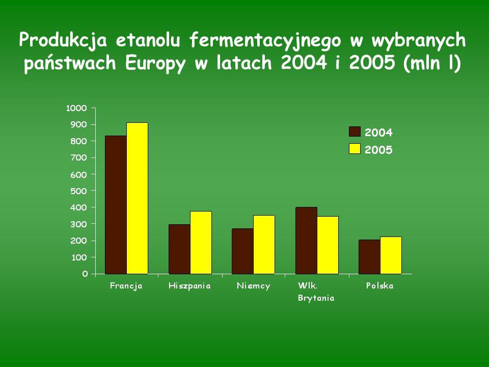 Produkcja etanolu fermentacyjnego w wybranych państwach Europy w latach 2004 i 2005 (mln l)