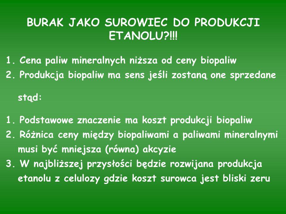 BURAK JAKO SUROWIEC DO PRODUKCJI ETANOLU !!. 1. Cena paliw mineralnych niższa od ceny biopaliw 2.