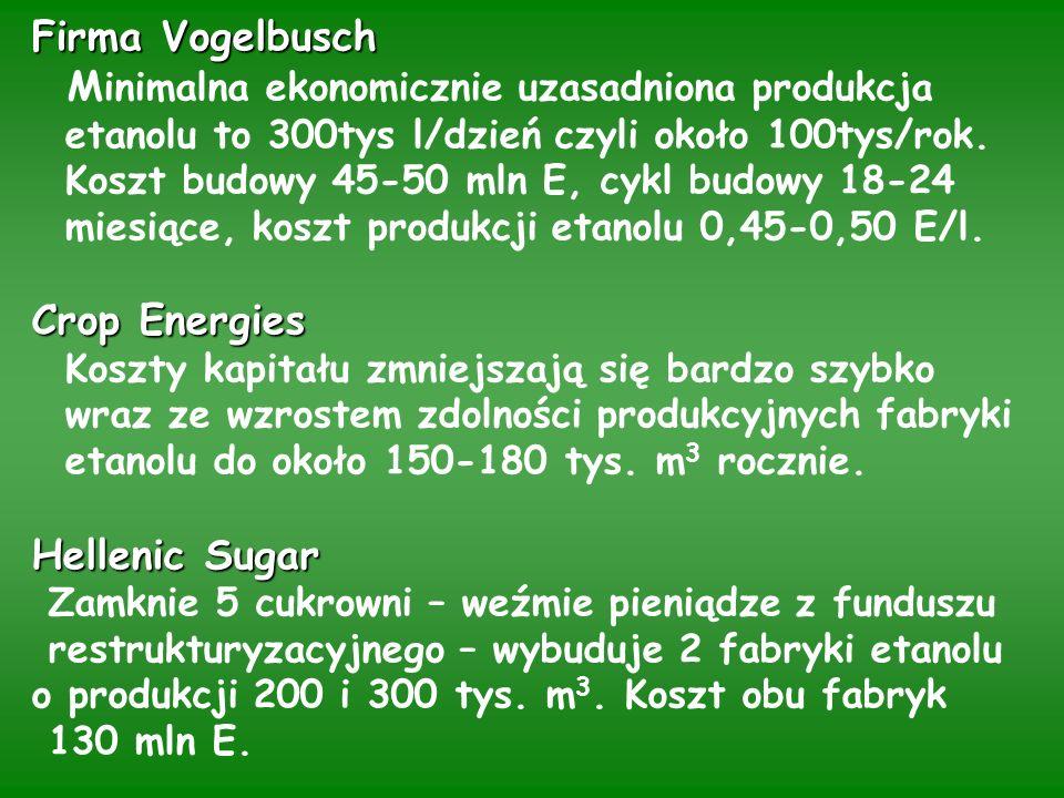 Firma Vogelbusch Crop Energies Hellenic Sugar Firma Vogelbusch M inimalna ekonomicznie uzasadniona produkcja etanolu to 300tys l/dzień czyli około 100tys/rok.