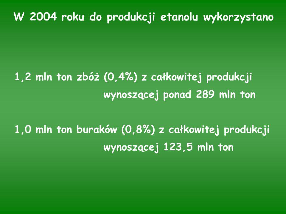 W 2004 roku do produkcji etanolu wykorzystano 1,2 mln ton zbóż (0,4%) z całkowitej produkcji wynoszącej ponad 289 mln ton 1,0 mln ton buraków (0,8%) z całkowitej produkcji wynoszącej 123,5 mln ton