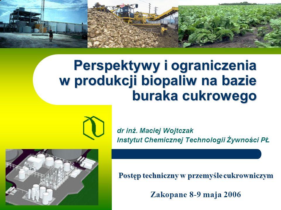 Perspektywy i ograniczenia w produkcji biopaliw na bazie buraka cukrowego dr inż.