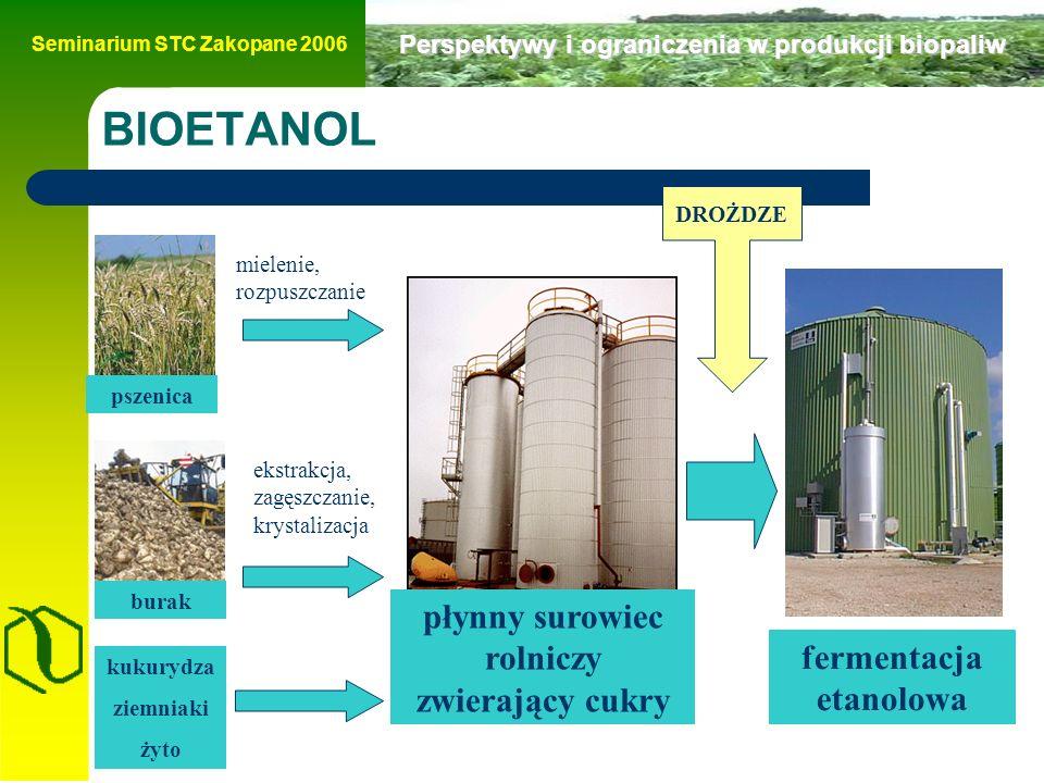 Seminarium STC Zakopane 2006 Perspektywy i ograniczenia w produkcji biopaliw BIOETANOL płynny surowiec rolniczy zwierający cukry pszenica burak mielenie, rozpuszczanie ekstrakcja, zagęszczanie, krystalizacja kukurydza ziemniaki żyto fermentacja etanolowa DROŻDZE