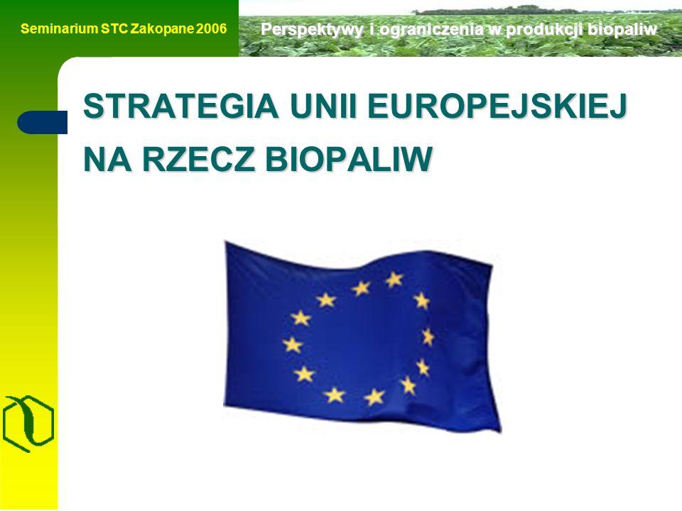 Seminarium STC Zakopane 2006 Perspektywy i ograniczenia w produkcji biopaliw STRATEGIA UNII EUROPEJSKIEJ NA RZECZ BIOPALIW