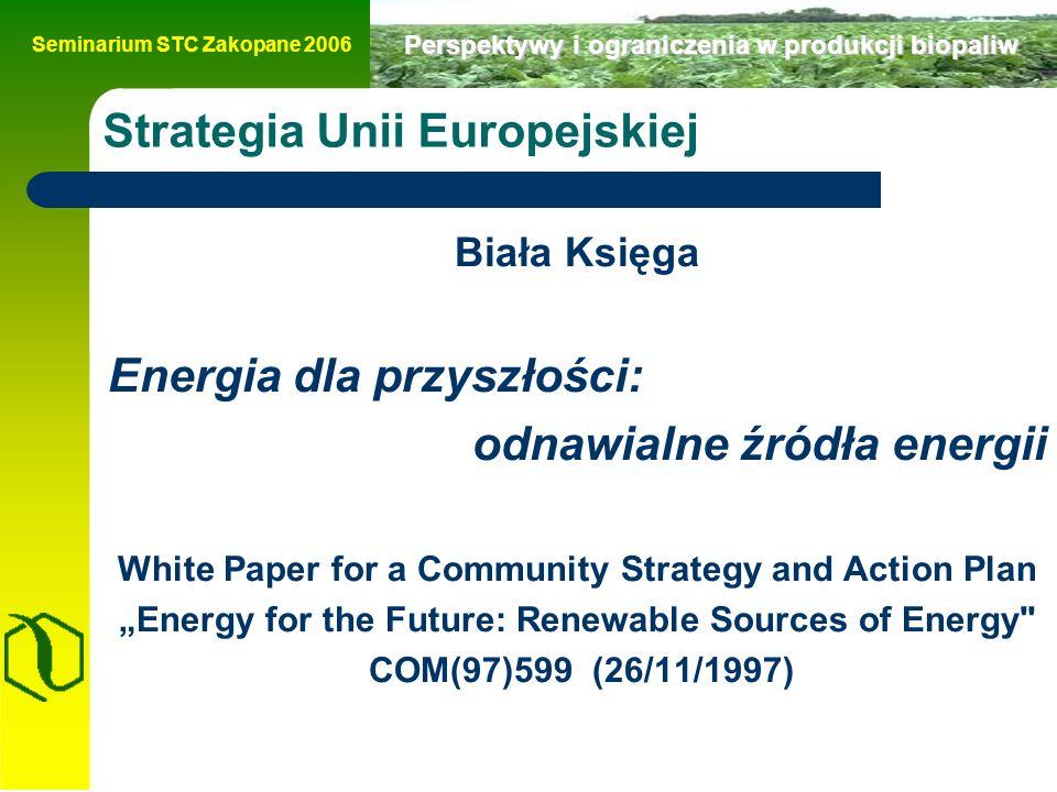 """Seminarium STC Zakopane 2006 Perspektywy i ograniczenia w produkcji biopaliw Strategia Unii Europejskiej Biała Księga Energia dla przyszłości: odnawialne źródła energii White Paper for a Community Strategy and Action Plan """"Energy for the Future: Renewable Sources of Energy COM(97)599 (26/11/1997)"""