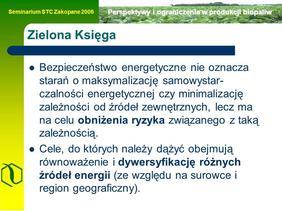 Seminarium STC Zakopane 2006 Perspektywy i ograniczenia w produkcji biopaliw Zielona Księga Bezpieczeństwo energetyczne nie oznacza starań o maksymalizację samowystar- czalności energetycznej czy minimalizację zależności od źródeł zewnętrznych, lecz ma na celu obniżenia ryzyka związanego z taką zależnością.