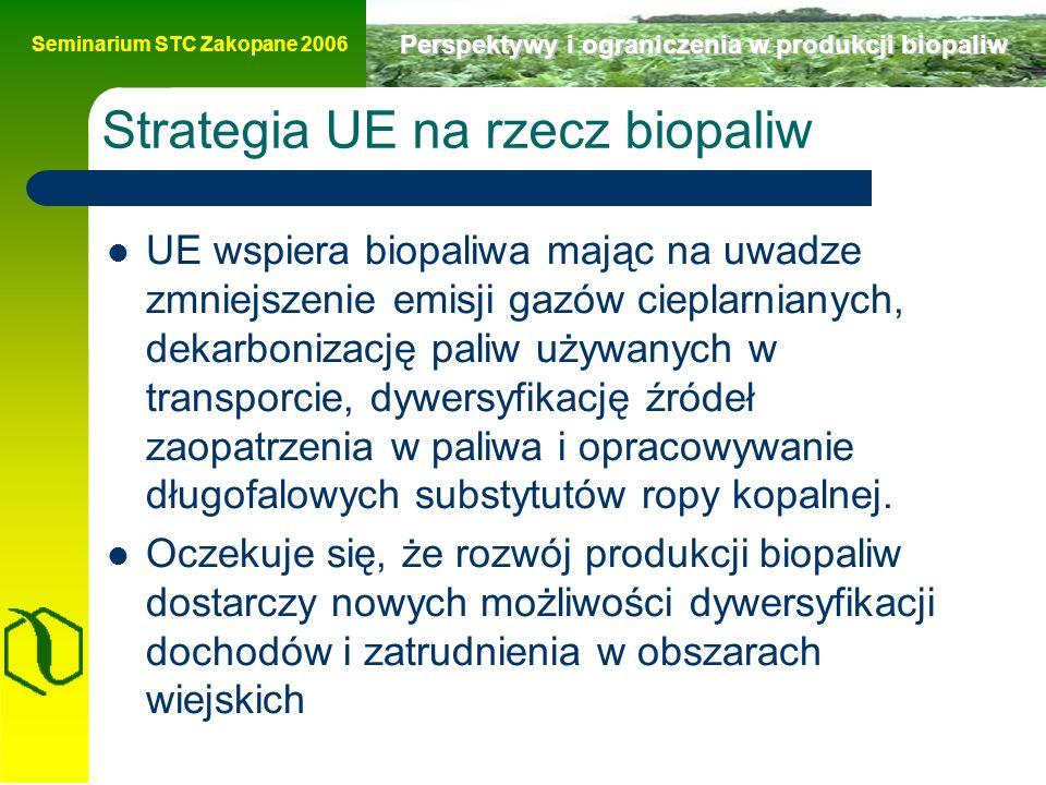 Seminarium STC Zakopane 2006 Perspektywy i ograniczenia w produkcji biopaliw Strategia UE na rzecz biopaliw UE wspiera biopaliwa mając na uwadze zmniejszenie emisji gazów cieplarnianych, dekarbonizację paliw używanych w transporcie, dywersyfikację źródeł zaopatrzenia w paliwa i opracowywanie długofalowych substytutów ropy kopalnej.
