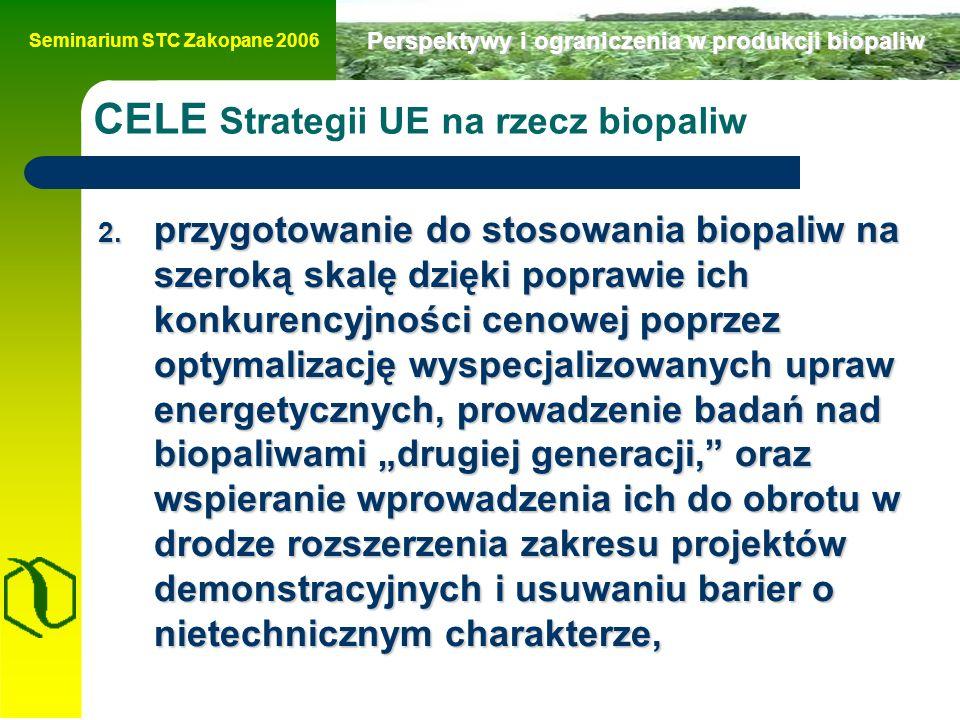 Seminarium STC Zakopane 2006 Perspektywy i ograniczenia w produkcji biopaliw CELE Strategii UE na rzecz biopaliw 2.