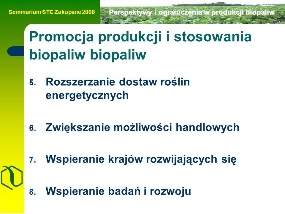 Seminarium STC Zakopane 2006 Perspektywy i ograniczenia w produkcji biopaliw 5.