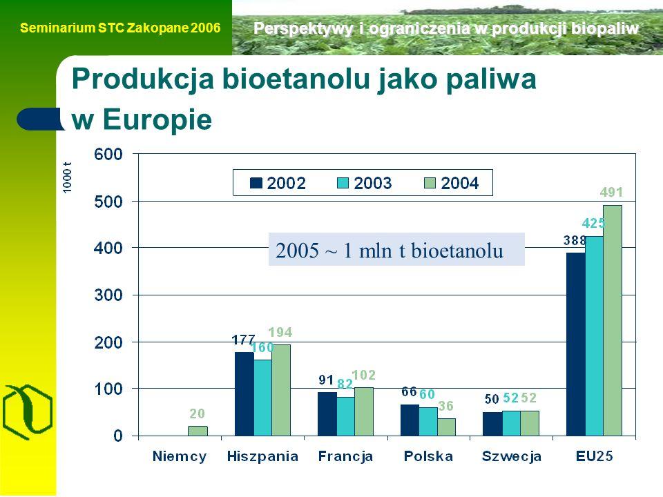 Seminarium STC Zakopane 2006 Perspektywy i ograniczenia w produkcji biopaliw Produkcja bioetanolu jako paliwa w Europie 2005 ~ 1 mln t bioetanolu