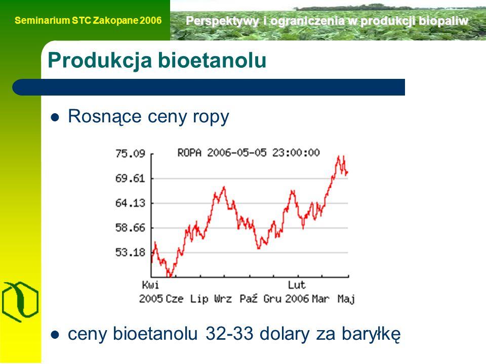 Seminarium STC Zakopane 2006 Perspektywy i ograniczenia w produkcji biopaliw Produkcja bioetanolu Rosnące ceny ropy ceny bioetanolu 32-33 dolary za baryłkę