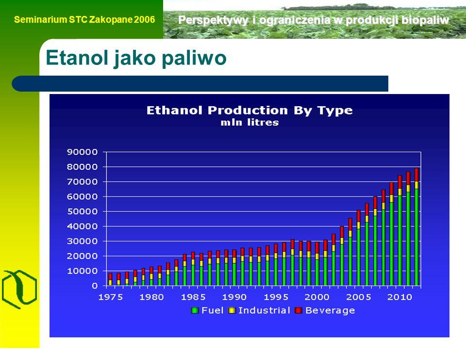 Seminarium STC Zakopane 2006 Perspektywy i ograniczenia w produkcji biopaliw Etanol jako paliwo