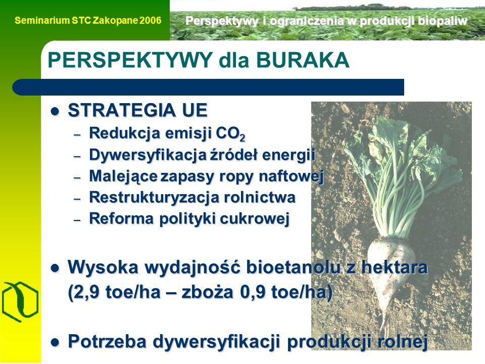 Seminarium STC Zakopane 2006 Perspektywy i ograniczenia w produkcji biopaliw PERSPEKTYWY dla BURAKA STRATEGIA UE STRATEGIA UE – Redukcja emisji CO 2 – Dywersyfikacja źródeł energii – Malejące zapasy ropy naftowej – Restrukturyzacja rolnictwa – Reforma polityki cukrowej Wysoka wydajność bioetanolu z hektara Wysoka wydajność bioetanolu z hektara (2,9 toe/ha – zboża 0,9 toe/ha) Potrzeba dywersyfikacji produkcji rolnej Potrzeba dywersyfikacji produkcji rolnej