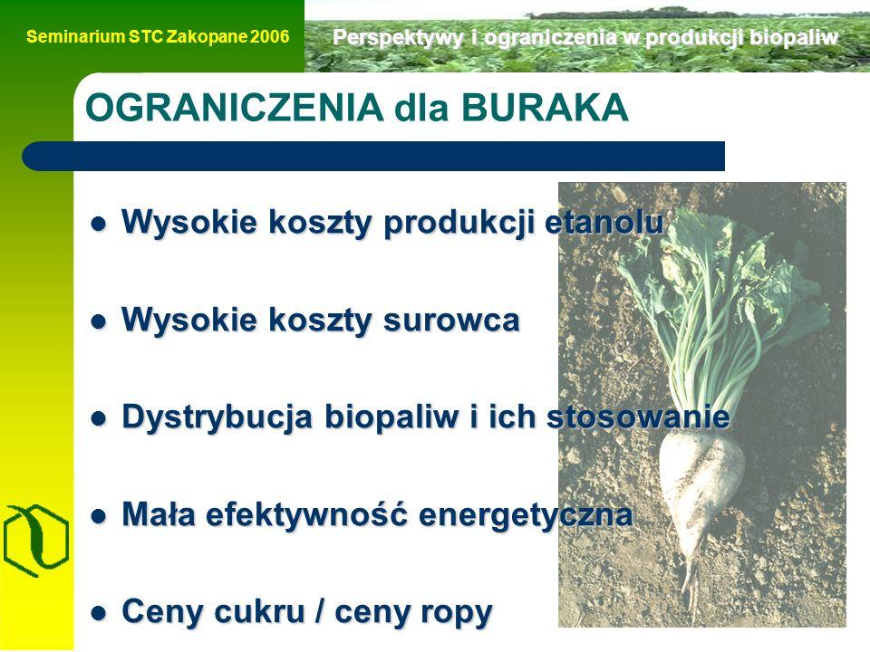 Seminarium STC Zakopane 2006 Perspektywy i ograniczenia w produkcji biopaliw OGRANICZENIA dla BURAKA Wysokie koszty produkcji etanolu Wysokie koszty produkcji etanolu Wysokie koszty surowca Wysokie koszty surowca Dystrybucja biopaliw i ich stosowanie Dystrybucja biopaliw i ich stosowanie Mała efektywność energetyczna Mała efektywność energetyczna Ceny cukru / ceny ropy Ceny cukru / ceny ropy